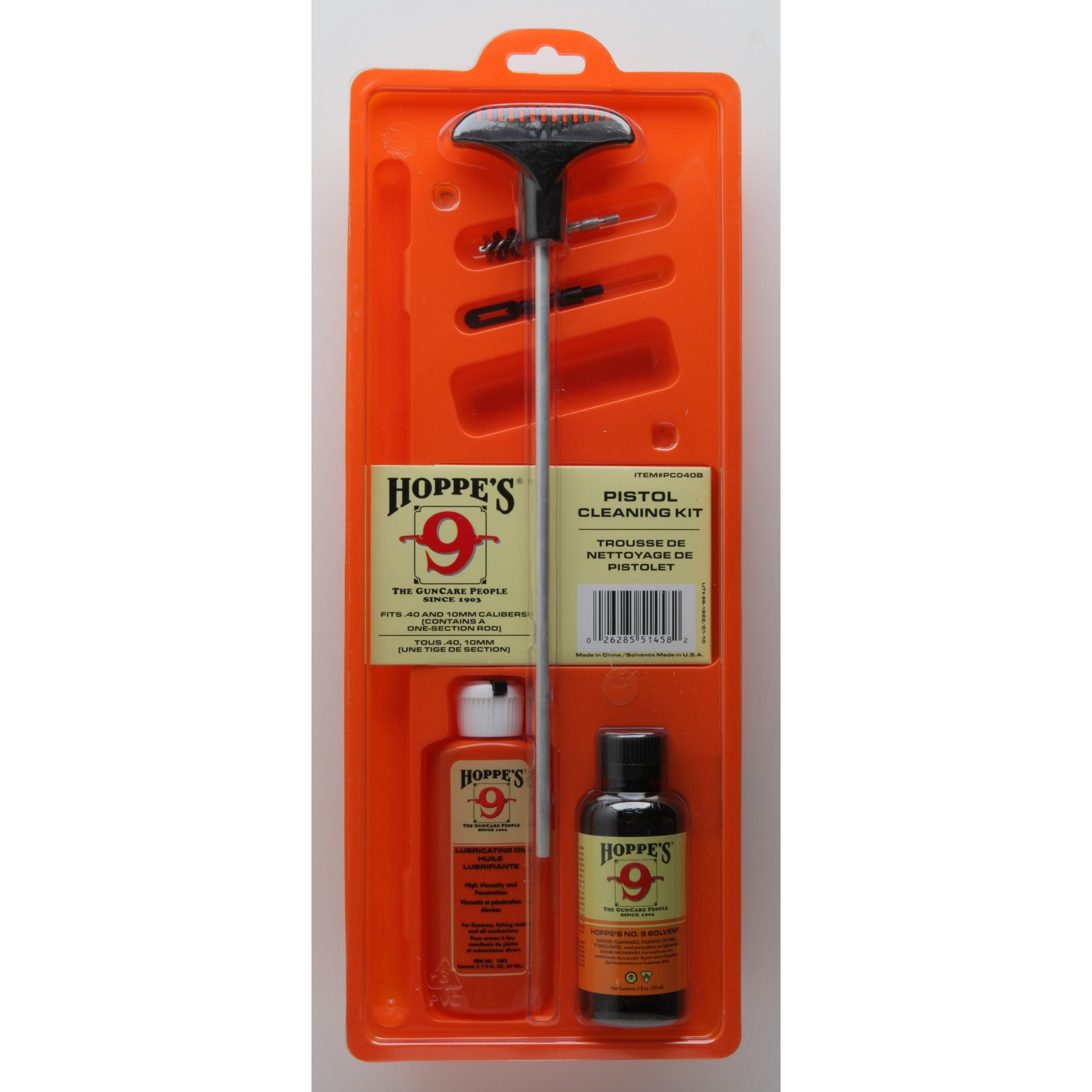 Hoppe's Cleaning Kit For .40, 10mm Caliber Pistol