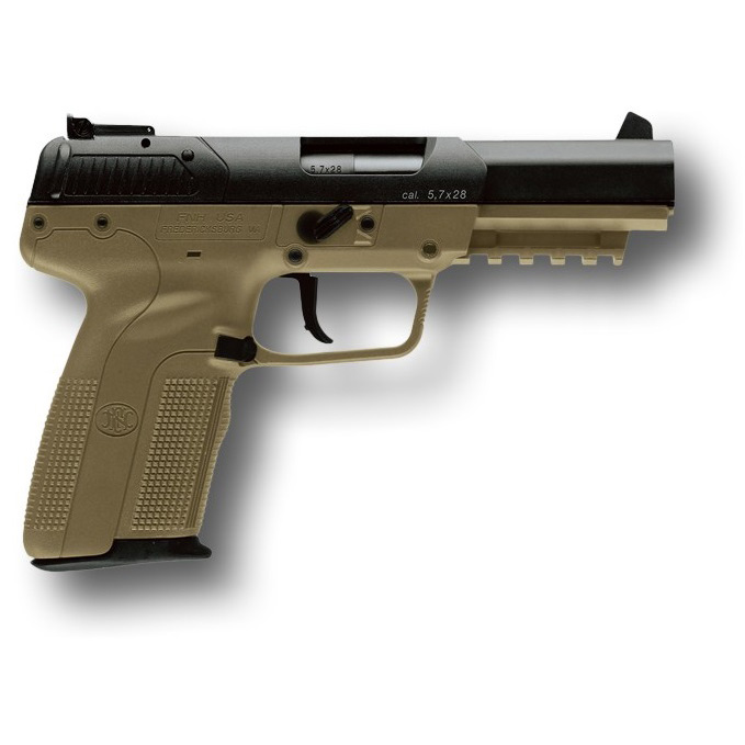 "FN Five-Seven FDE 5.7X28mm 20 Round, 4.8"" Adjustable 3-Dot Sights"