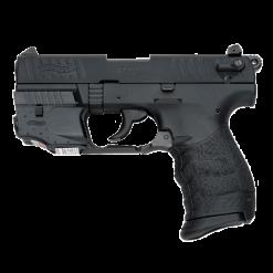 Walther P22 Black Threaded Barrel With Laser, 10 Round Semi Auto Handgun, .22 LR