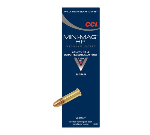 CCI 0031 22LR Mini-Mag High Velocity 36Gr Copper Plated HP, 100 Rounds
