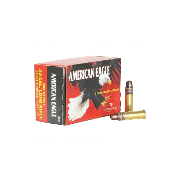 Federal American Eagle 22LR 38gr Copper Plated HP, 40 Rounds
